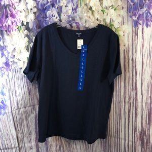 Splendid Navy Blue Stretch Knit V-Neck Shirt